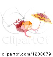 Cartoon Of A Circus Girl Swinging From Her Legs On A Trapeze And Holding An Umbrella Royalty Free Vector Clipart