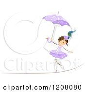Circus Girl Walking A Tight Rope With An Umbrella