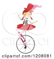 Cartoon Of A Circus Girl On A Unicycle Royalty Free Vector Clipart