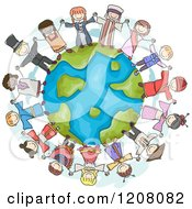 Cartoon Of A Circle Of Diverse Chidren In Traditional Clothes Holding Hands Around Earth Royalty Free Vector Clipart