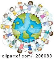 Cartoon Of A Circle Of Diverse Children Holding Hands Around Earth Royalty Free Vector Clipart