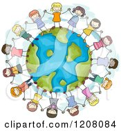 Cartoon Of A Circle Of Diverse Girls Holding Hands Around Earth Royalty Free Vector Clipart