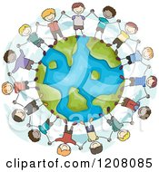Cartoon Of A Circle Of Diverse Boys Holding Hands Around Earth Royalty Free Vector Clipart