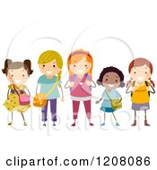 Cartoon Of A Diverse Group Of Happy Different Aged School Girls Royalty Free Vector Clipart