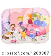 Cartoon Of A Messy Bedroom With Girls Playing Royalty Free Vector Clipart