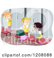 Cartoon Of A Locker Room With Diverse Girls Royalty Free Vector Clipart