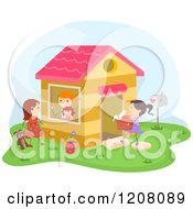 Cartoon Of Girls Playing At A Playhouse Royalty Free Vector Clipart