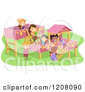 Cartoon Of A Playground With Girls Playing Royalty Free Vector Clipart