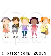 Cartoon Of A Diverse Group Of Bully School Girls Royalty Free Vector Clipart by BNP Design Studio