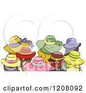 Cartoon Of A Rear View Of Girls Wearing Different Hats Royalty Free Vector Clipart