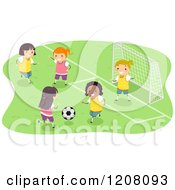 Cartoon Of A Diverse Group Of Girls Playing Soccer Royalty Free Vector Clipart