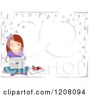 Cartoon Of A Border Of Letters And A Girl Using A Laptop With Text Space Royalty Free Vector Clipart by BNP Design Studio