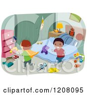 Cartoon Of Happy Diverse Boys Playing In A Messy Bedroom Royalty Free Vector Clipart