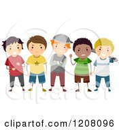 Cartoon Of A Group Of Diverse Bully Boys Royalty Free Vector Clipart by BNP Design Studio