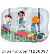 Cartoon Of Happy Diverse Boys In A Locker Room Royalty Free Vector Clipart by BNP Design Studio