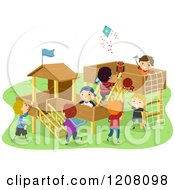 Cartoon Of A Playground With Happy Diverse Boys Royalty Free Vector Clipart