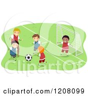 Cartoon Of A Group Of Happy Diverse Boys Playing Soccer Royalty Free Vector Clipart