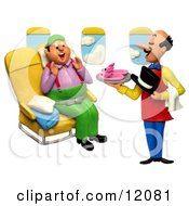 Clay Sculpture Clipart Flight Attendant Serving Slippers To A First Class Passenger Royalty Free 3d Illustration