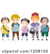 Cartoon Of A Group Of Happy Diverse School Boys Royalty Free Vector Clipart by BNP Design Studio