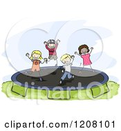 Cartoon Of Happy Diverse Children Jumping On A Trampoline Royalty Free Vector Clipart