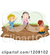 Girl And Boys Playing In A Mud Puddle