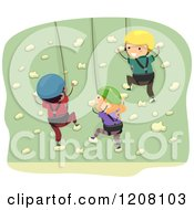 Cartoon Of A Girl And Two Boys Rock Climbing A Wall Royalty Free Vector Clipart