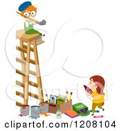 Cartoon Of A Boy And Girl With Art Supplies And A Ladder Royalty Free Vector Clipart