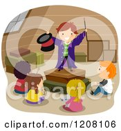 Cartoon Of A Magician Boy Entertaining Diverse Friends In An Attic Royalty Free Vector Clipart