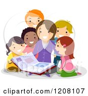 Cartoon Of A Teacher Reading A Story Book To Diverse Students Royalty Free Vector Clipart