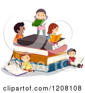 Cartoon Of Happy Diverse Children Reading On A Stack Of Books Royalty Free Vector Clipart