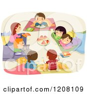 Cartoon Of A Circle Of Happy Kids Eating Pizza At A Sleep Over Royalty Free Vector Clipart by BNP Design Studio