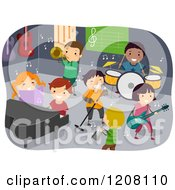 Cartoon Of A Group Of Diverse Children Playing Instruments In A Room Royalty Free Vector Clipart