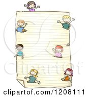 Cartoon Of A Piece Of Ruled School Paper And Diverse Children Royalty Free Vector Clipart