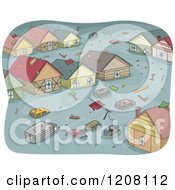 Flooded Town With Cars And Houses