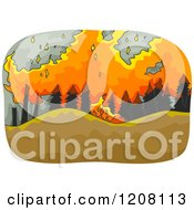 Cartoon Of A Raging Wildfire Royalty Free Vector Clipart