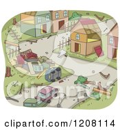 Cartoon Of A Disaster Aftermath Of Upturned Homes And Cars Royalty Free Vector Clipart by BNP Design Studio