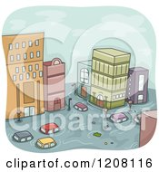 Flooded City With Cars And Buildings
