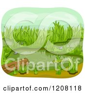 Cartoon Of A Wetland Pond With A Log Royalty Free Vector Clipart by BNP Design Studio