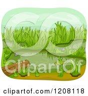 Wetland Pond With A Log