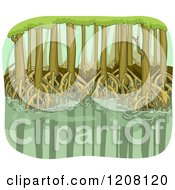 Cartoon Of A Mangrove Swamp With Visible Roots Royalty Free Vector Clipart