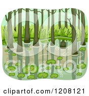 Cartoon Of A Swamp With Lily Pads And Trees Royalty Free Vector Clipart