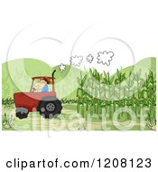 Cartoon Of A Farmer Harvesting Corn In A Tractor Royalty Free Vector Clipart