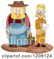 Cartoon Of A Farmer With A Basket Of Corn And Wife Holding A Hen Royalty Free Vector Clipart by BNP Design Studio