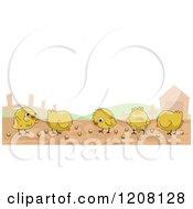 Cartoon Of A Row Of Cute Chicks On A Farm Royalty Free Vector Clipart by BNP Design Studio