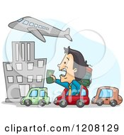Cartoon Of A Late Man Stuck In Traffic And Holding Out His Passport To An Airplane Royalty Free Vector Clipart