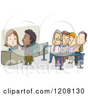 Cartoon Of A Check In Counter At An Airport With A Line Royalty Free Vector Clipart