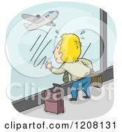 Cartoon Of A Man With His Luggage Watching His Missed Flight Take Off Royalty Free Vector Clipart by BNP Design Studio