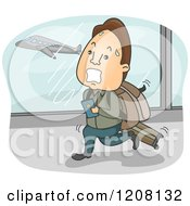 Cartoon Of A Sweaty Man Running Through An Airport To Catch His Flight Royalty Free Vector Clipart by BNP Design Studio