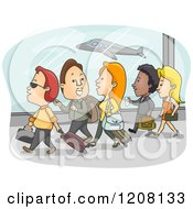 Cartoon Of A Group Of Airport Passengers Walking With Their Luggage Royalty Free Vector Clipart by BNP Design Studio