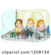 Cartoon Of Adults Working And Reading In An Airport Waiting Area Royalty Free Vector Clipart by BNP Design Studio